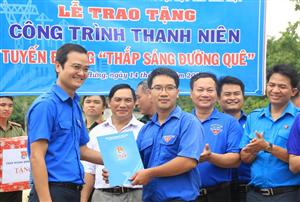 Đồng chí Bùi Quang Huy thăm, tặng quà chiến sỹ Mùa hè xanh tại Bình Phước
