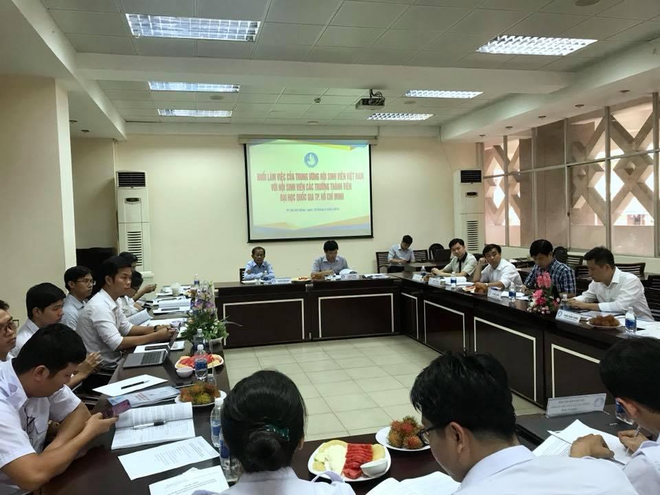Thường trực Hội Sinh viên Việt Nam làm việc với Hội Sinh viên Việt Nam các trường trực thuộc Đại học Quốc gia TP. Hồ Chí Minh