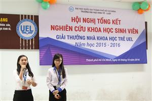 Đại học Kinh tế - Luật: Hội nghị tổng kết chương trình Nghiên cứu khoa học sinh viên – Giải thưởng Nhà khoa học trẻ UEL