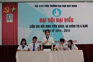 Đại hội Liên chi Hội Giáo dục chính trị và Quản lý nhà nước Đại học Quy nhơn nhiệm kỳ 2016 - 2018