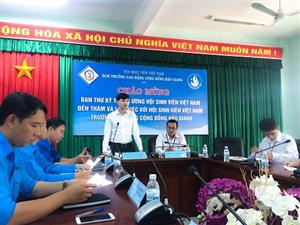 Trung ương Hội sinh viên Việt Nam kiểm tra công tác Hội và phong trào sinh viên trường Việt Nam Cao đẳng Cộng đồng Hậu Giang