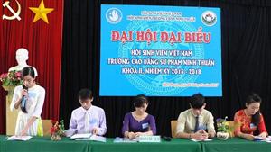 Đại hội đại biểu Hội Sinh viên Việt Nam trường Cao đẳng Sư phạm Ninh Thuận khóa II, nhiệm kỳ 2016 - 2018