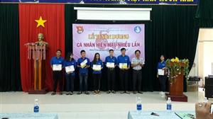 Trường CĐ SP Kiên Giang tuyên dương các cá nhân có thành tích xuất sắc trong phong trào hiến máu tình nguyện.